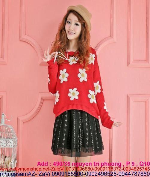 Áo len nữ hình hoa mai xinh đẹp len quảng châu AL36