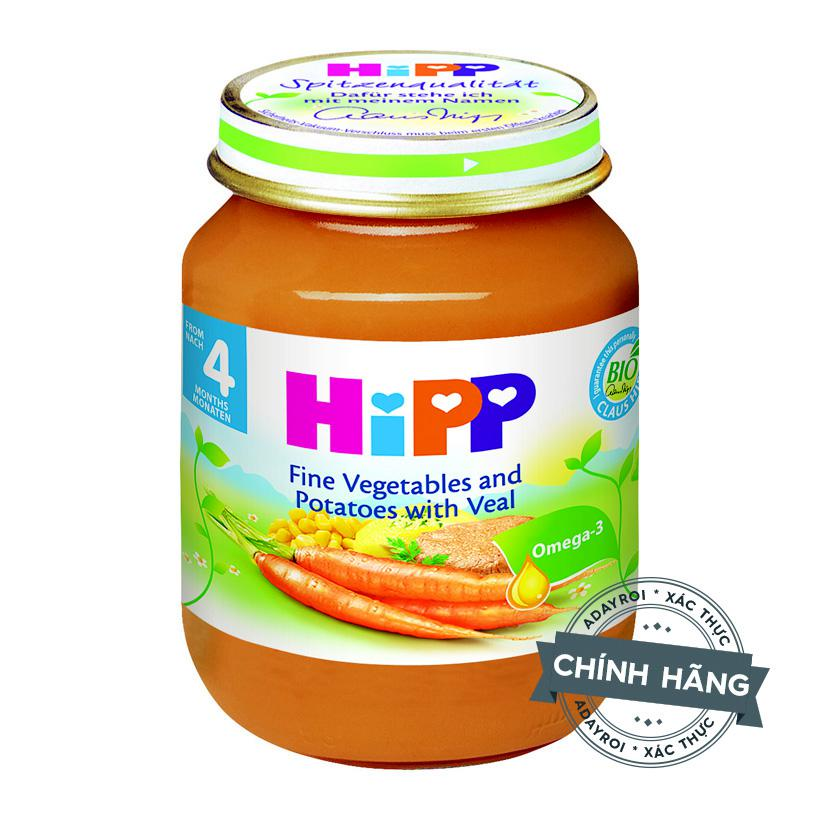 Dinh dưỡng đóng lọ thịt bê, khoai tây, rau tổng hợp HiPP 125g