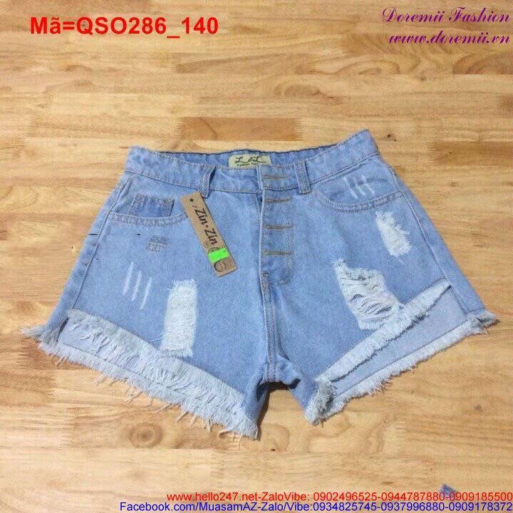 Quần short jean nữ rách lai ngắn dài cá tính QSO286