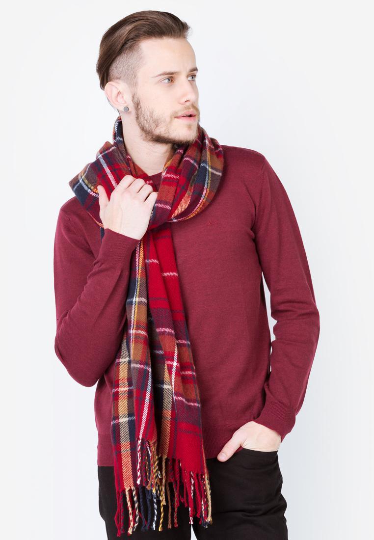 Áo len nam tay dài cổ tròn màu đỏ mận Aligro