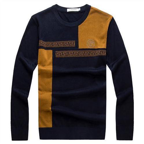 Áo len nam cổ tròn Nleidun phối màu in họa tiết