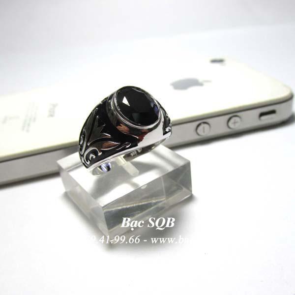 Nhẫn bạc nam cùng đá đen