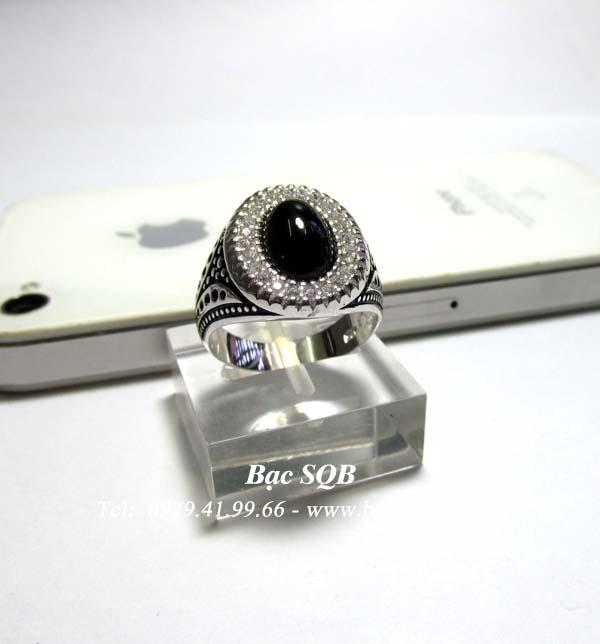 Nhẫn bạc nam mặt đá đen
