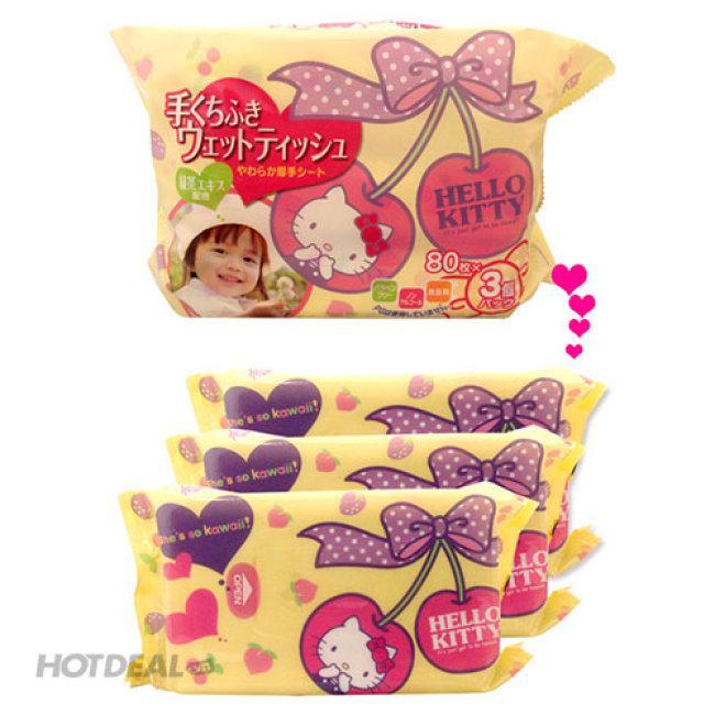 Giấy Ướt LEC Hello Kitty E-045 Dùng Cho Tay Và Miệng (80 Tờ X 3 Gói) Tặng giấy Ướt EC Nước Tinh Khiế...