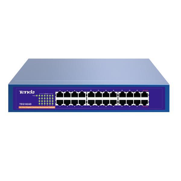 Thiết bị chia mạng 24 cổng LAN 10/100/1000 TENDA TEG1024D (Xanh)