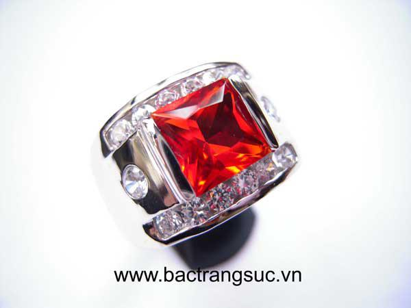 Nhẫn bạc nam đá đỏ