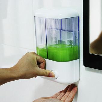 Hộp đựng nước rửa tay treo tường 2 ngăn (Trắng)