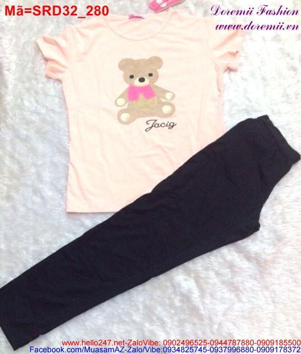 Set áo hồng gấu Jacig phối quần đen trẻ trung xì tin SRD32