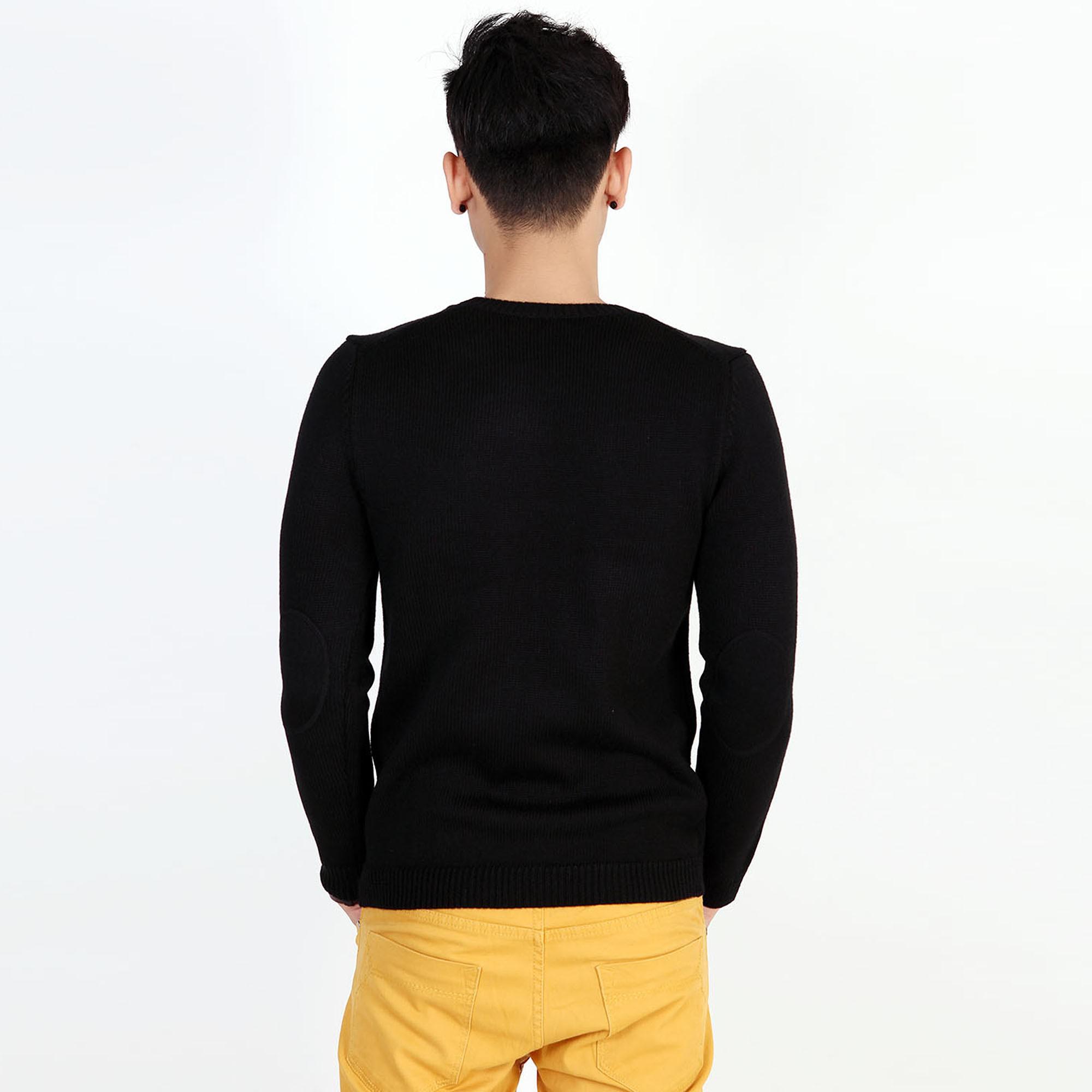 Áo len nam dày cổ tròn, phối màu bo, đáp khuỷu tay