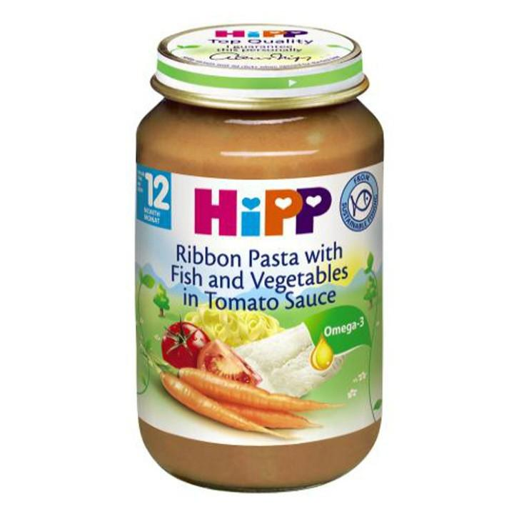 Dinh dưỡng đóng lọ Hipp mì bẹt, cá hồi, sốt cà chua 220g - 6823