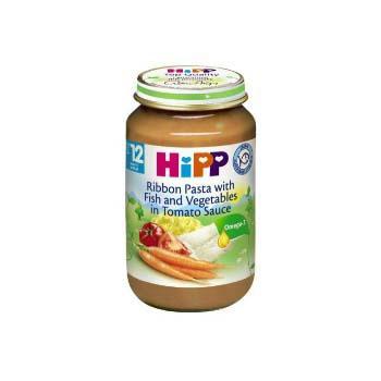 Dinh dưỡng đóng lọ Mì bẹt, cá hồi sốt cà chua HiPP 220g