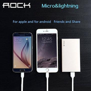 Dây Cáp Sạc Đôi Rock 2 Cổng Lightning - Micro USB