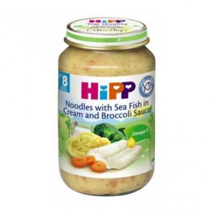 Dinh dưỡng đóng lọ mì tagliatelle, cá hồi, xốt kem, lơ xanh HiPP 220g