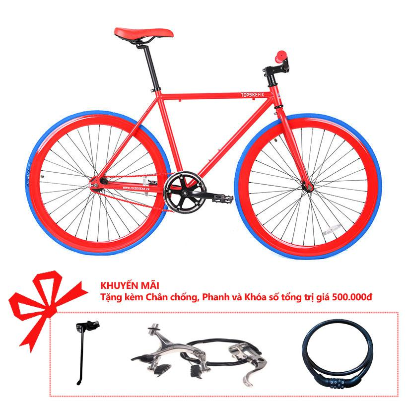 Xe đạp Topbike Fix khung màu đỏ sần