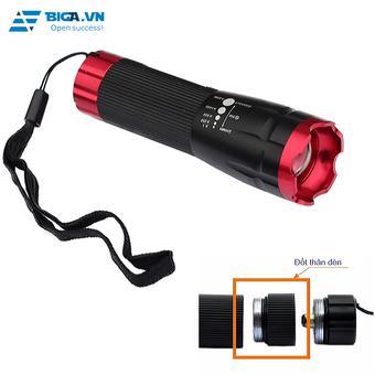 Đèn pin siêu sáng chuyên dụng LED Q3 ZOOM X2000 (Đen viền đỏ)