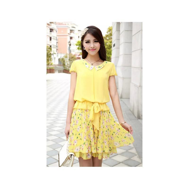 Đầm xòe cổ sen chân váy hoa bách hợp - 155 - DV2388