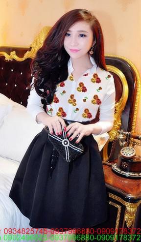 Set áo voan hoa hồng váy xòe phi thắt beo xinh xắn zDDN10