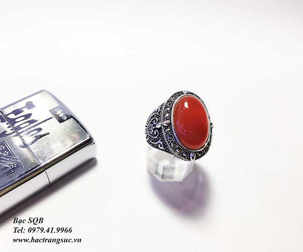 Nhẫn bạc nam đá đỏ Agate RI-2608