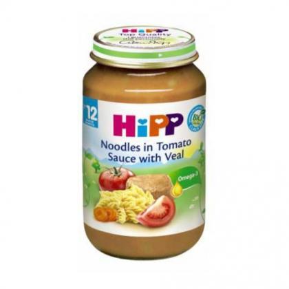 Dinh dưỡng đóng lọ HiPP thịt bê, mì sợi, cà chua 220g - 6833