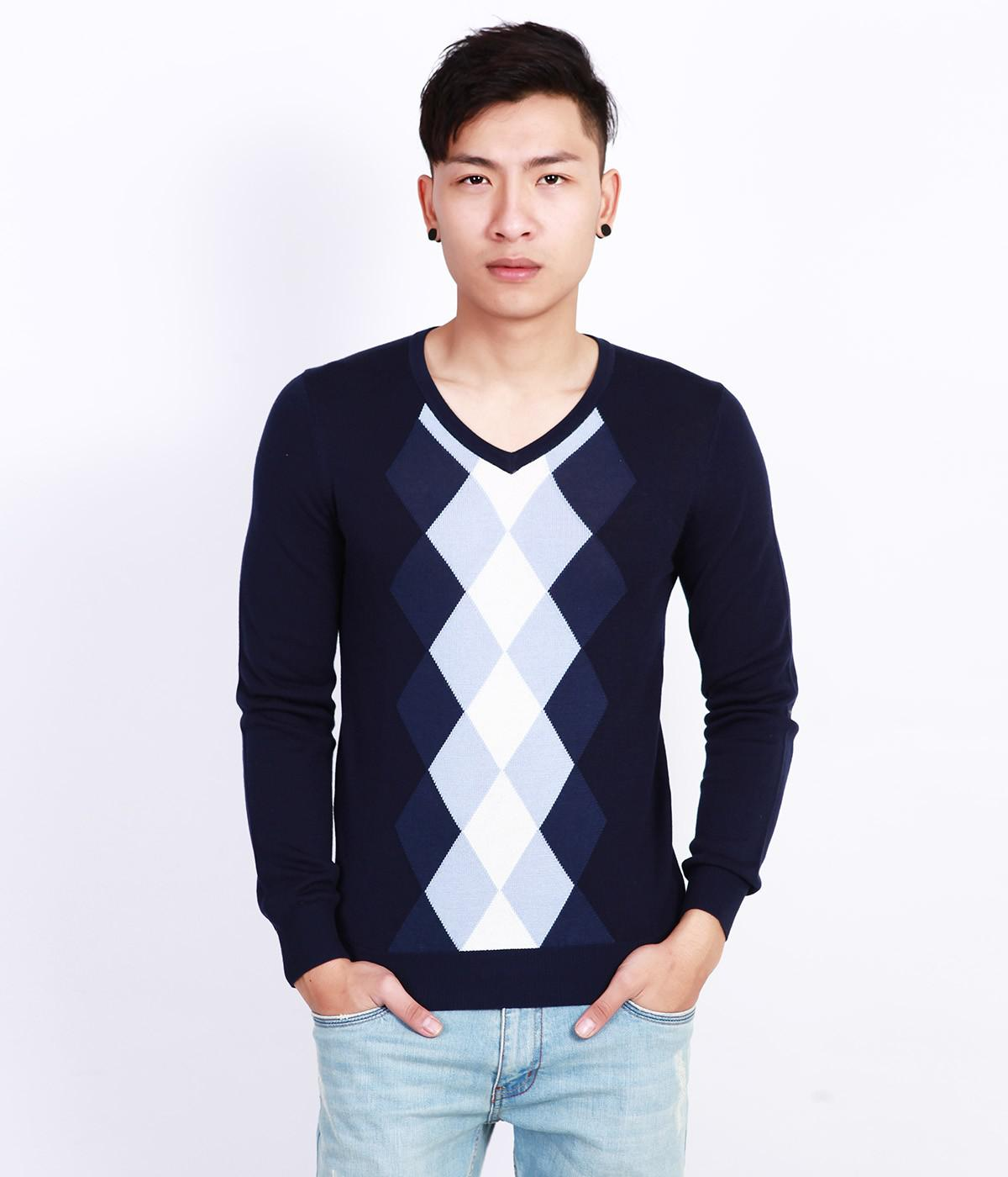 Áo len nam cổ tim mỏng, dệt hình trám 3 màu