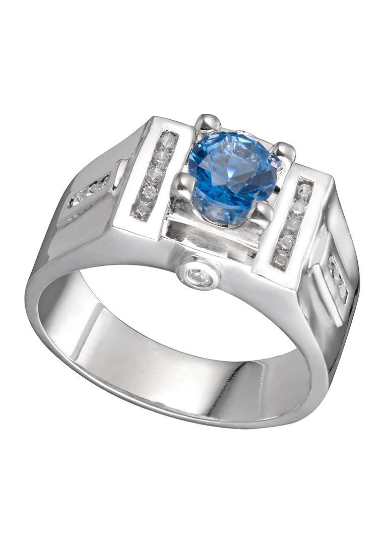 Nhẫn bạc đính đá tròn xanh Vudung Silver