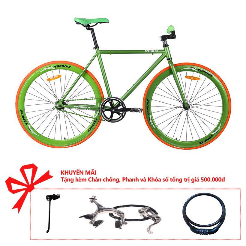 Xe đạp Topbike Fix khung màu xanh lá cây đậm