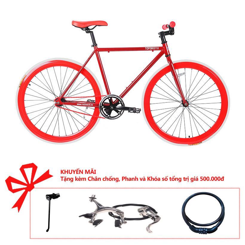 Xe đạp Topbike Fix khung màu rượu vang