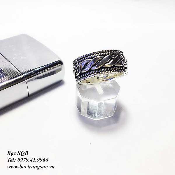 Nhẫn bạc nam họa tiết RI-2590