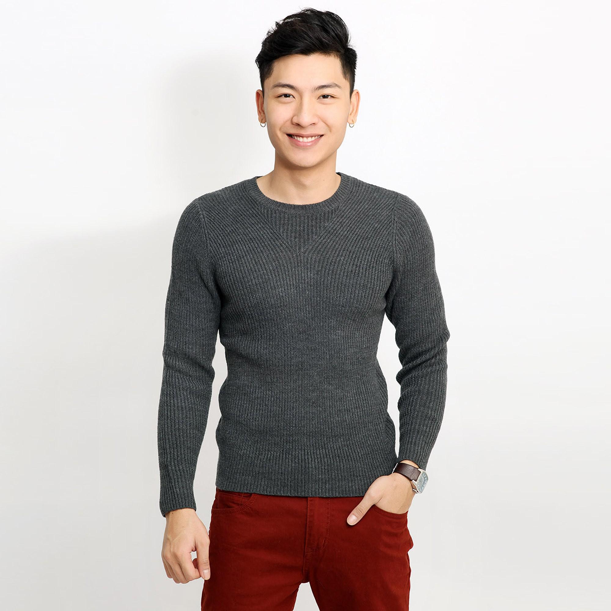 Áo len nam cổ tròn dày