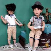 Set áo thun cổ trụ quần đai kaki in râu kèm nơ rời dễ thương cho bé trai 1 - 8 Tuổi BTB15140