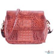 Túi xách da cá sấu Huy Hoàng hộp vuông màu nâu đỏ - HH6202