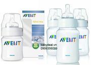 Bình sữa cổ rộng Avent chống sặc sản xuất tại Anh nhựa PP an toàn cho các bé. Set 3 bình dung tích 1...