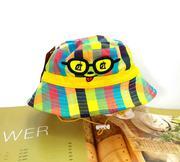 2-4 tuổi mũ vải vành rộng kẻ Burberry mặt đeo kính