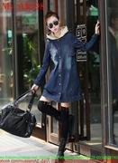 Áo khoác jean nữ form dài có nón sành điệu và cá tính AKJ98