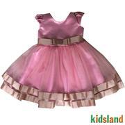 Đầm voan hồng tà xéo AD219
