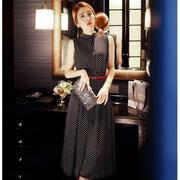 Đầm Vintage Chấm Bi Cổ Trụ 2439 Gmess