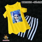 Bộ búp bê áo khoét vai gợn sóng quần legging lửng dễ thương cho bé gái 2 - 8 tuổi BGB116522