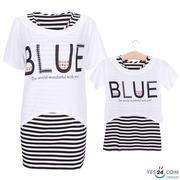Set đầm sọc body áo in chữ Blue mẹ bé màu trắng phối đen - HA109