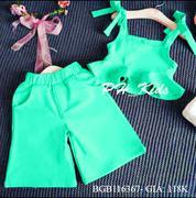 Bộ croptop phối bèo quần ống rộng dễ thương cho bé gái 1 - 8 tuổi BGB116367