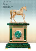 Đồng hồ treo tường chế tác tại Italy- Clock Malachite W/Arab gold Horse Silver
