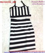 Set áo 2 dây chân váy ôm kẻ sọc trẻ trung SAV32