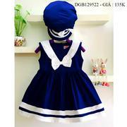 Đầm kate thủy thủy kèm nón dễ thương cho bé gái 1 - 8 tuổi DGB129522