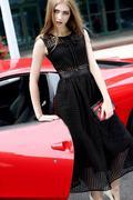 Đầm Vintage Ren Caro Thắt Nơ Cao Cấp 2379 Gmess
