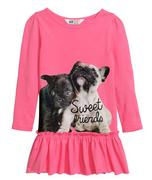 Áo Đầm Bé Gái H&M thun con mèo hồng size 6-8 Y và 8-10Y