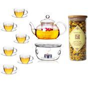 Bộ ấm chén trà thủy tinh số 66 Bạch Hạc Trà