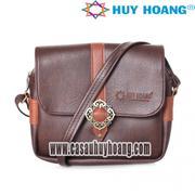 Túi xách phối viền Huy Hoàng 1 khóa màu nâu - HH6160