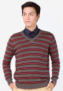 Áo len nam cổ tim tay dài kẻ ngang màu đỏ Lenlink