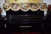 Khăn phủ nắp đàn Piano họa tiết hoa hồng nâu vàng - KU09