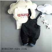 Bộ yếm thêu chữ kenzo quần vải kate dày may vest dễ thương cho bé trai 1 - 8 Tuổi BTB12203
