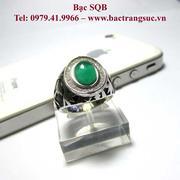 Nhẫn bạc nam đá xanh Agate